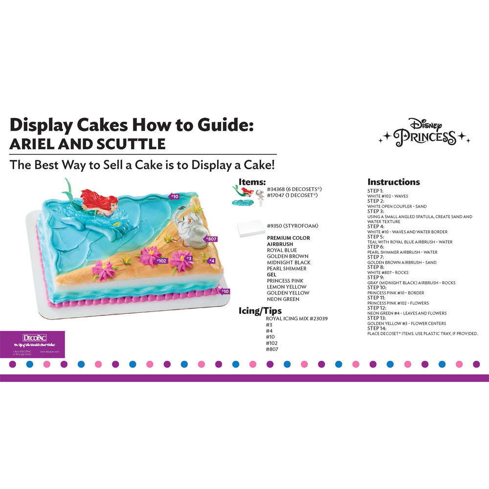 Disney Princess Ariel and Scuttle Display Cake Guide