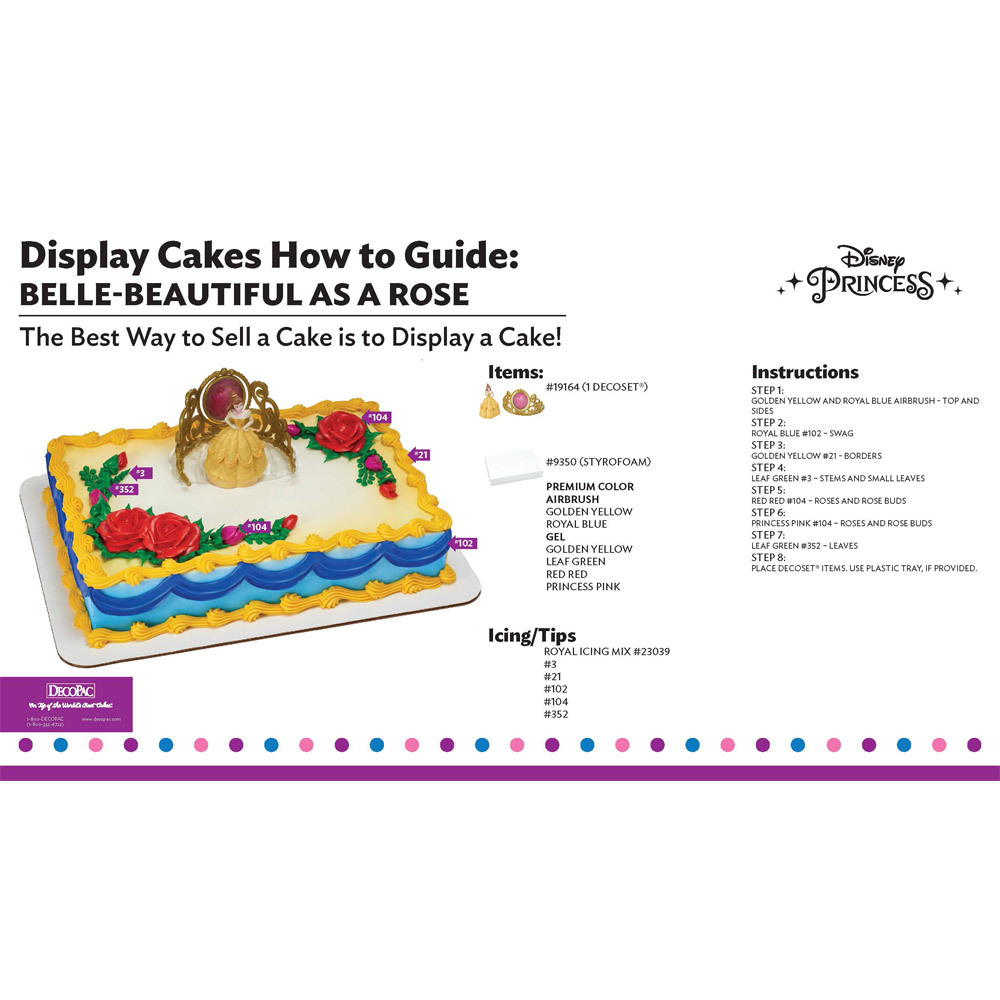 Disney Princess Belle Beautiful as a Rose Display Cake Guide