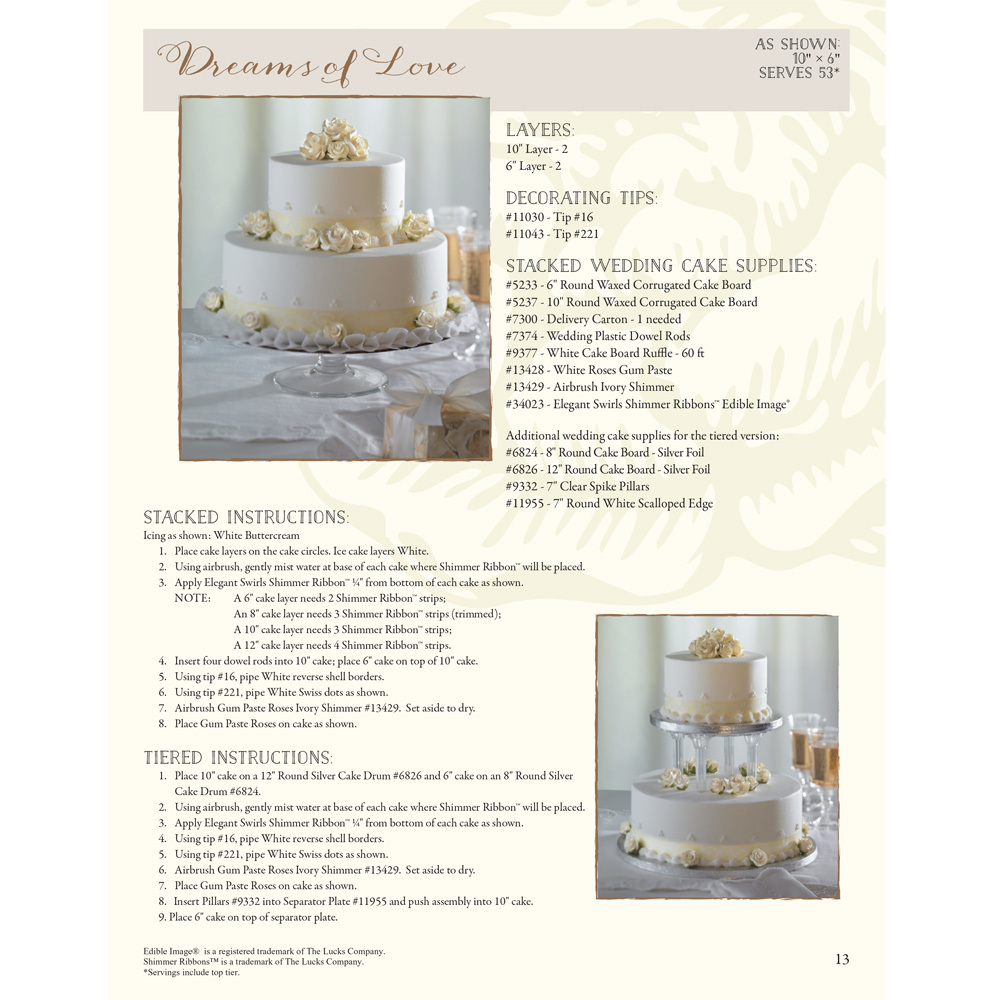 Dreams of Love Stacked Wedding Cake Decorating Instructions
