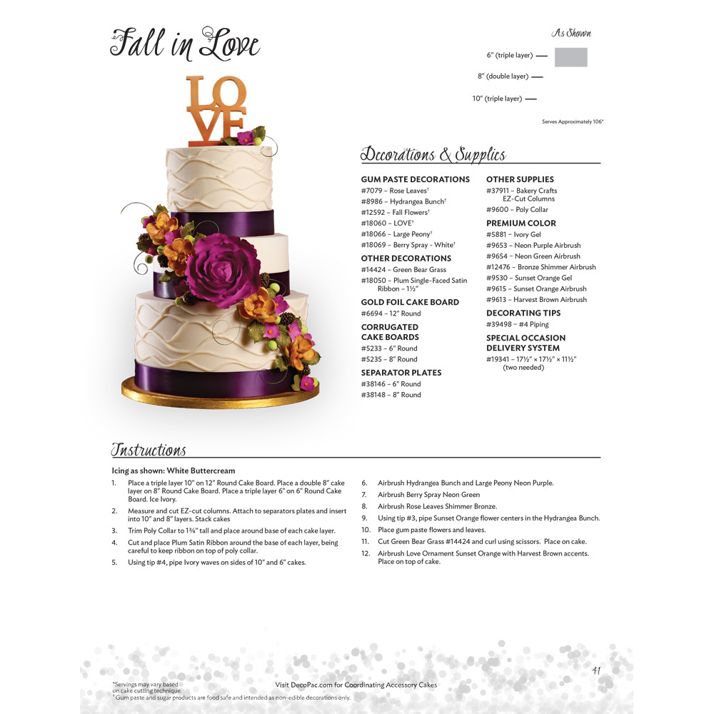 Fall in Love Stacked Wedding Cakes Decorating Instructions | DecoPac