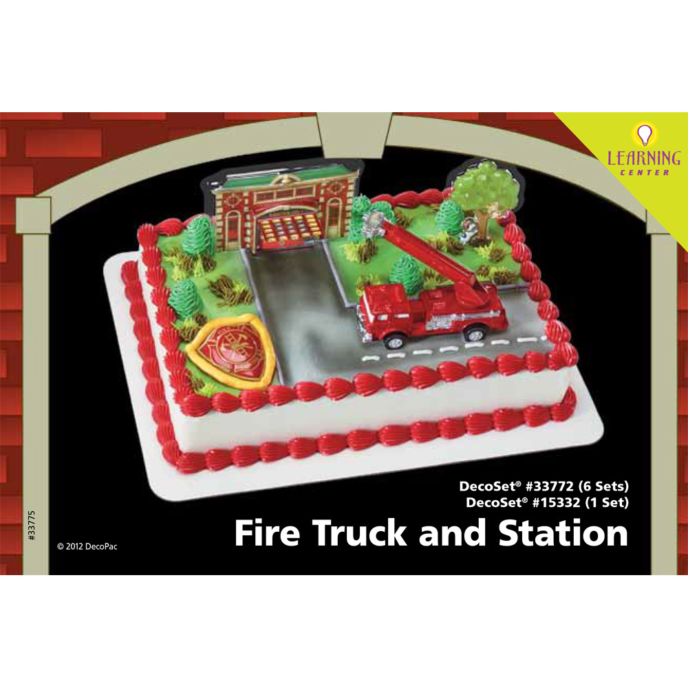 Fire Truck And Station DecoSetR 1 4 Sheet Cake Decorating Instructions