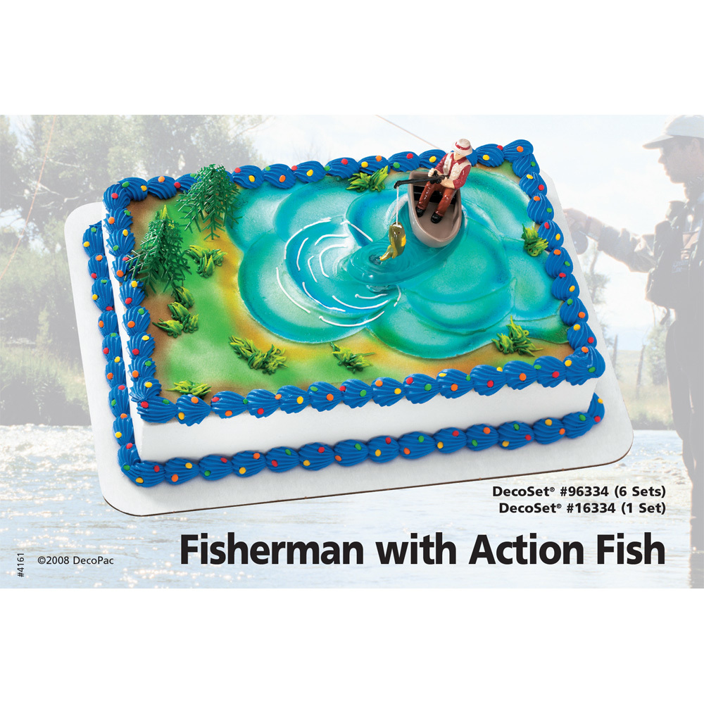 Fisherman With Action Fish DecoSetR 1 4 Sheet Cake Decorating Instructions