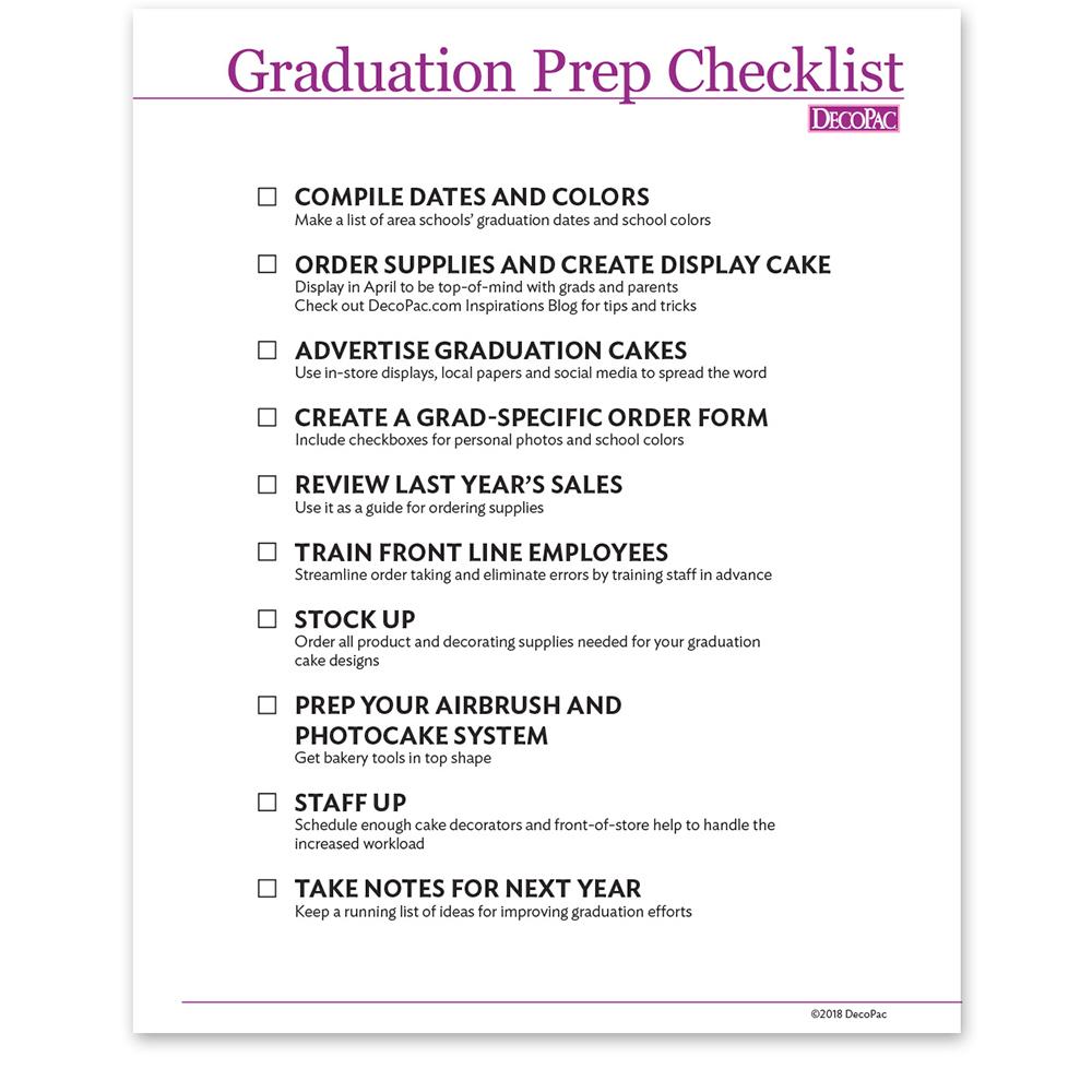 Graduation Prep Checklist