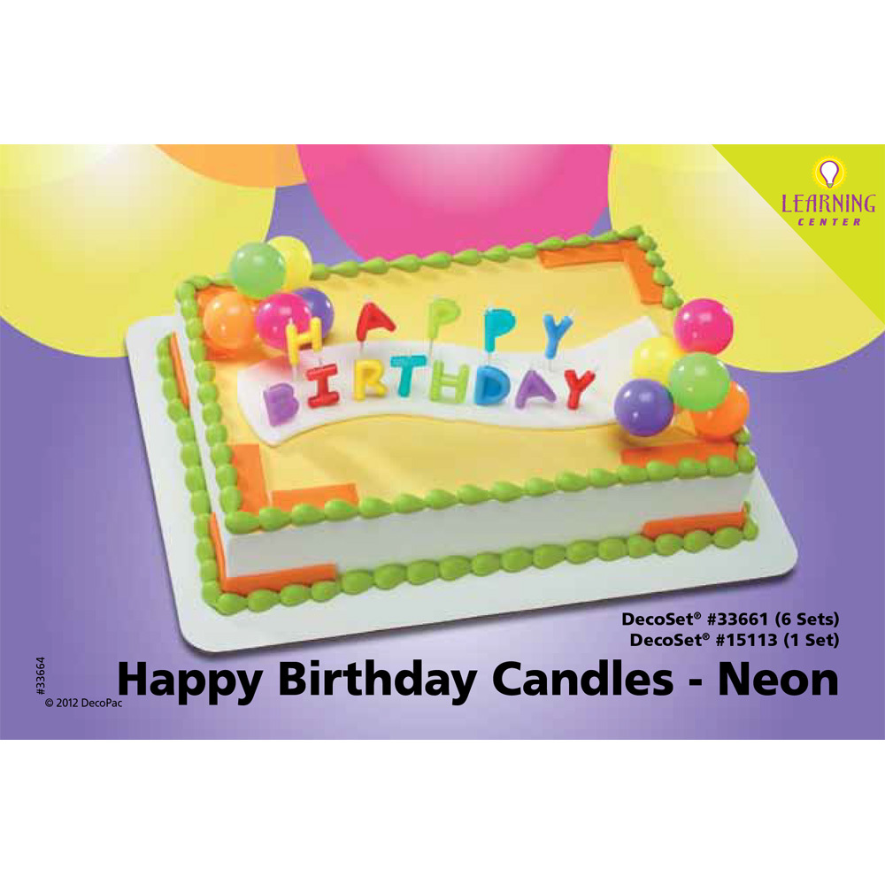 Happy Birthday Neon Candles DecoSetR 1 4 Sheet Cake Decorating Instructions