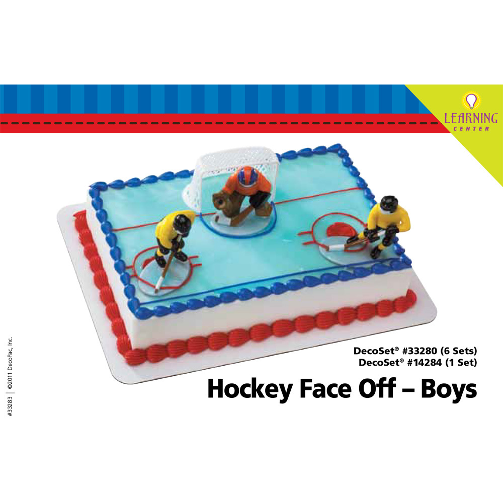 Hockey Face Off DecoSetR Boys 1 4 Sheet Cake Decorating Instructions