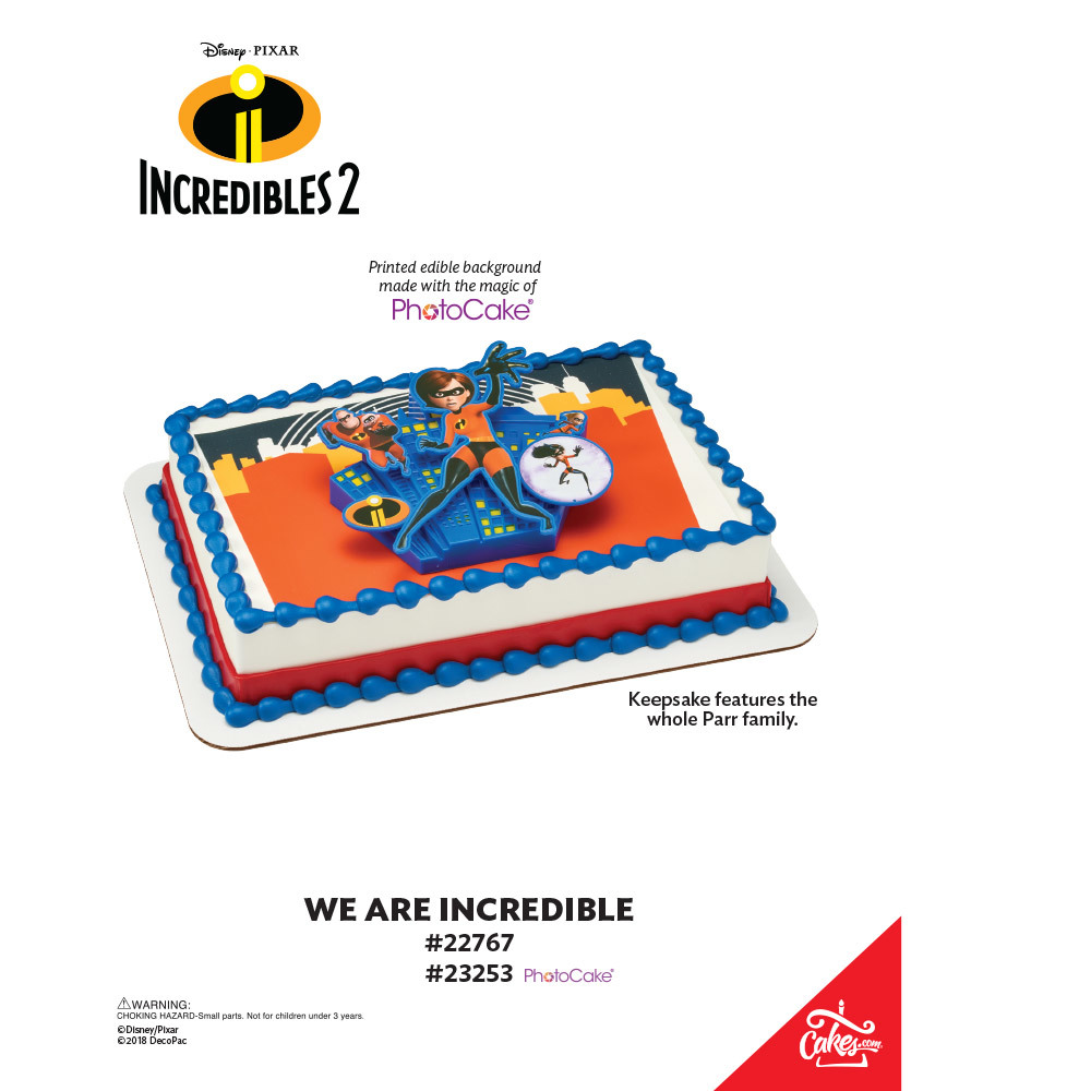 Incredibles 2 - We Are Incredible PhotoCake® Background The Magic of Cakes® Page