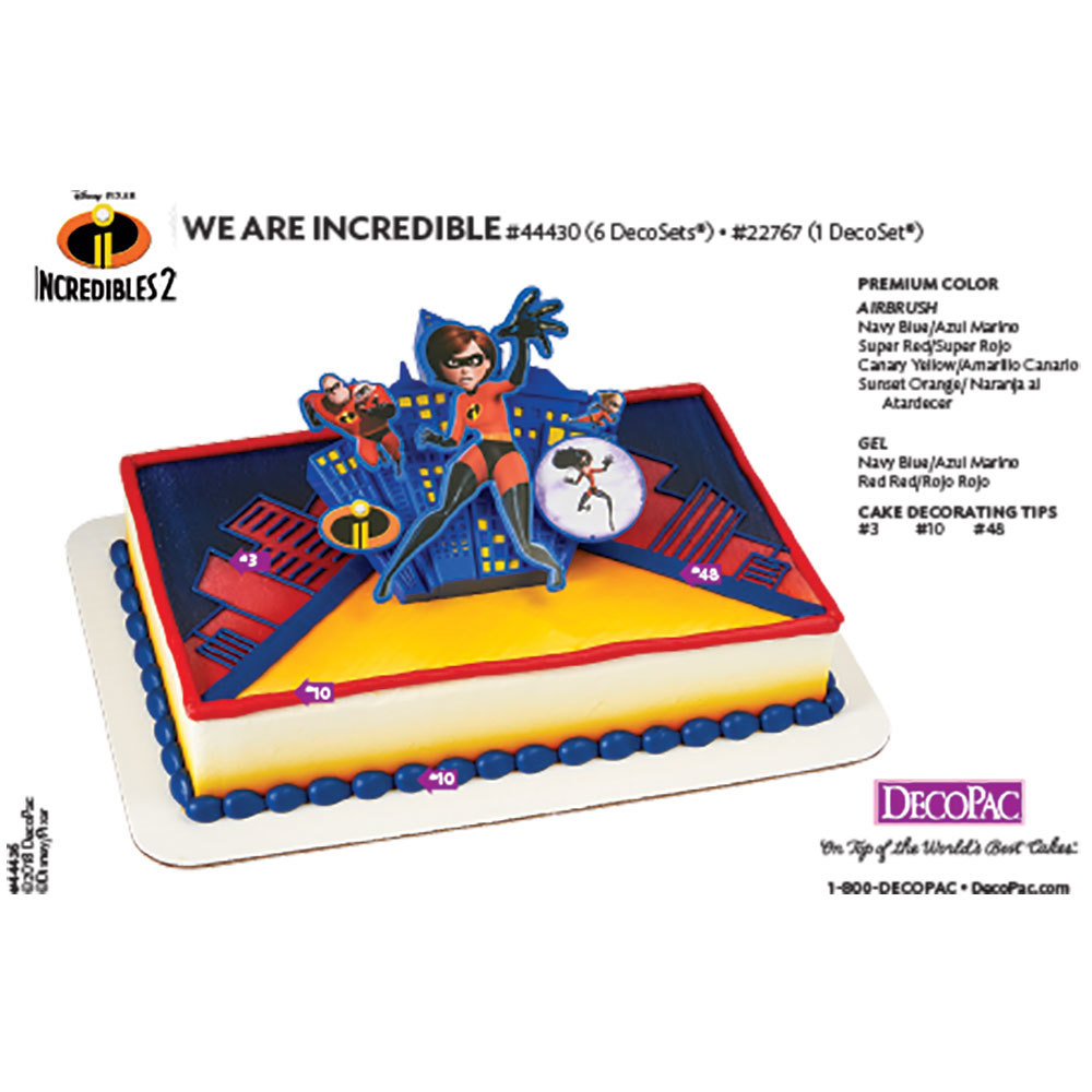 Incredibles 2 -  We are Incredible DecoSet® Cake Decorating Instruction Card