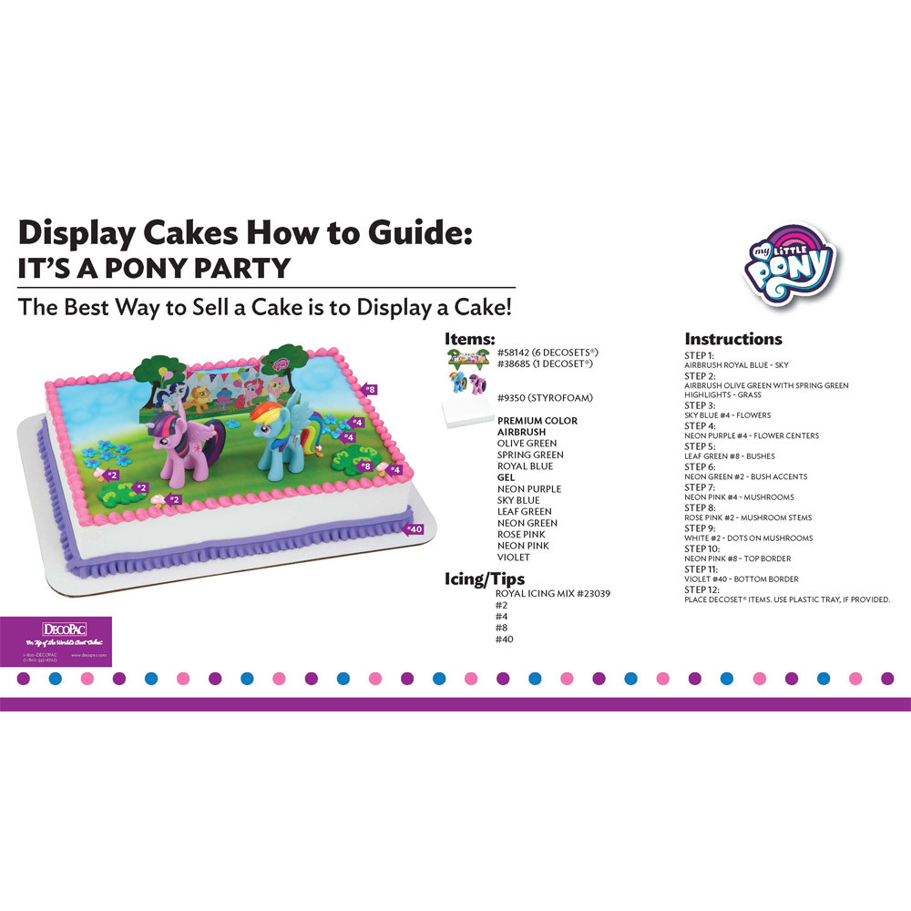 My Little Pony It's a Pony Party Display Cake Guide