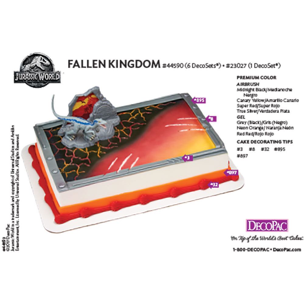 Jurassic World Fallen Kingdom Decoset Cake Decorating Instruction