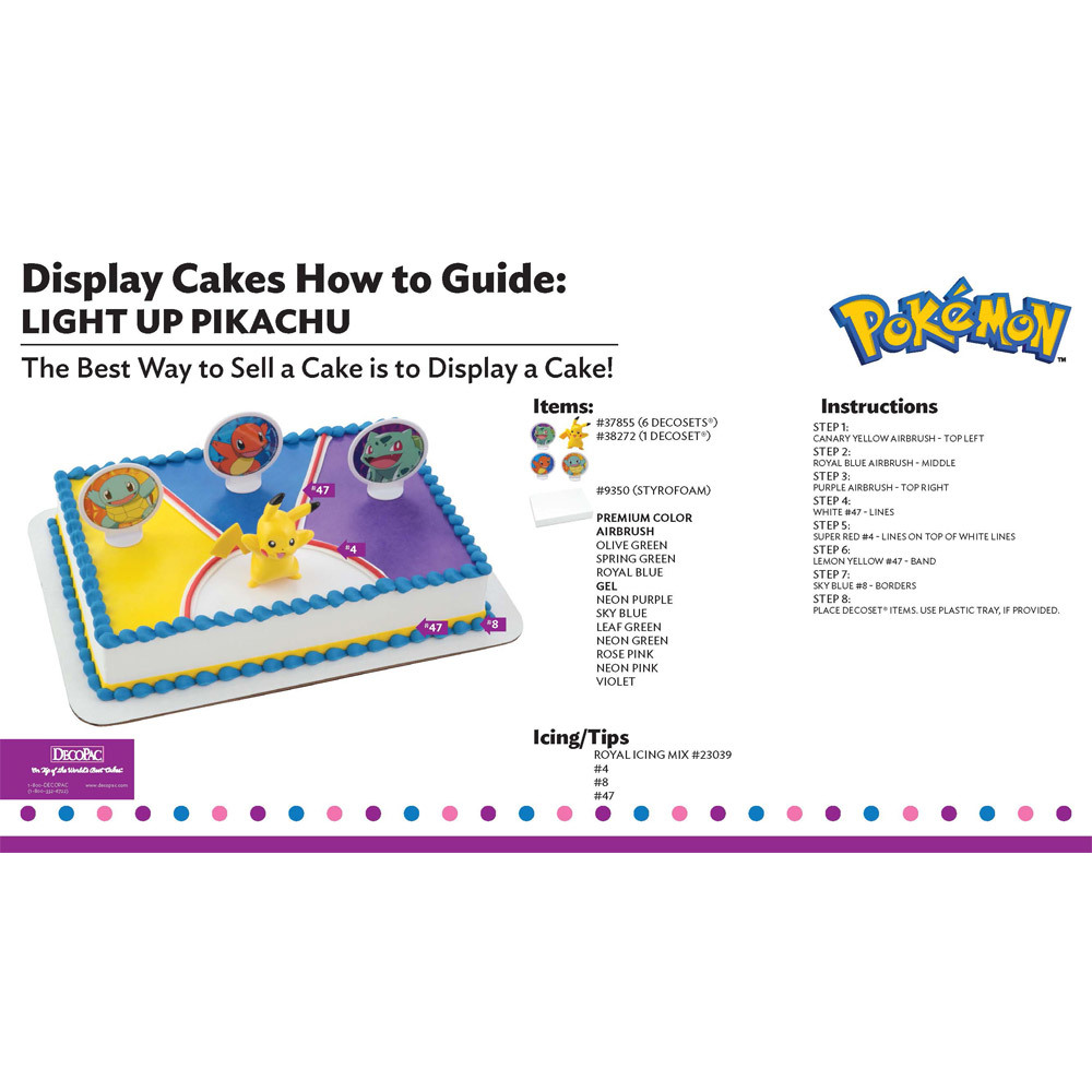 Pokemon Light up Pikachu Display Cake Guide