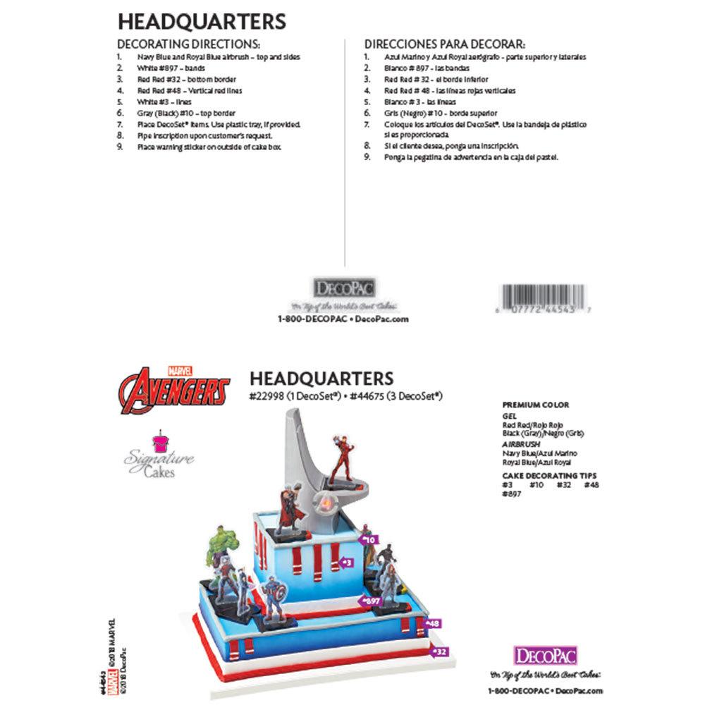 Marvel's Avengers Headquarters Signature DecoSet® Cake Decorating Instruction Card