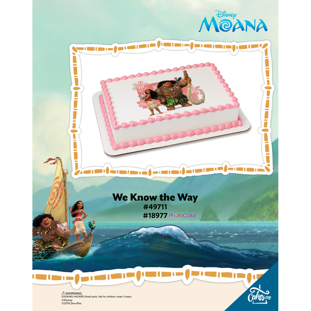 Moana We Know the Way Edibile Image®/PhotoCake® Enhanced Background The Magic of Cakes® Page