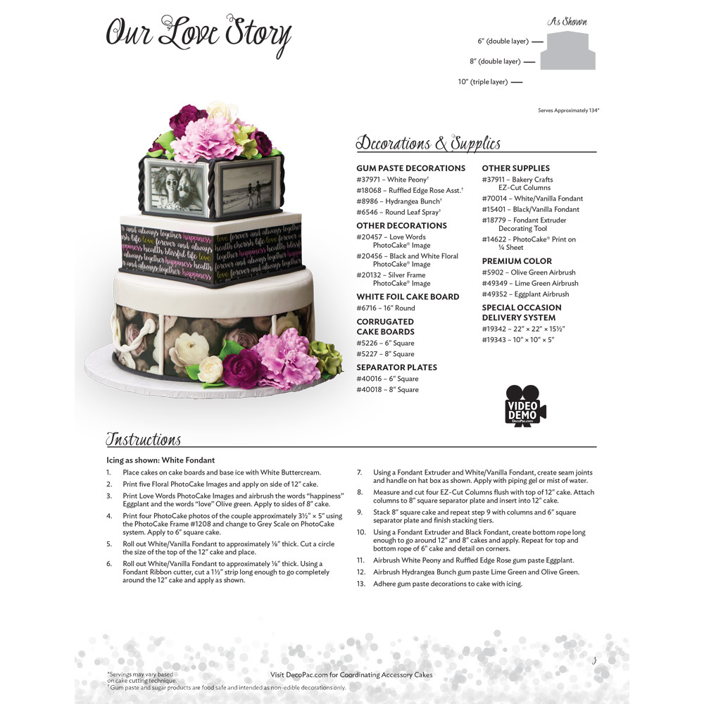 Our Love Story Stacked Wedding Cake Decorating Instructions | DecoPac