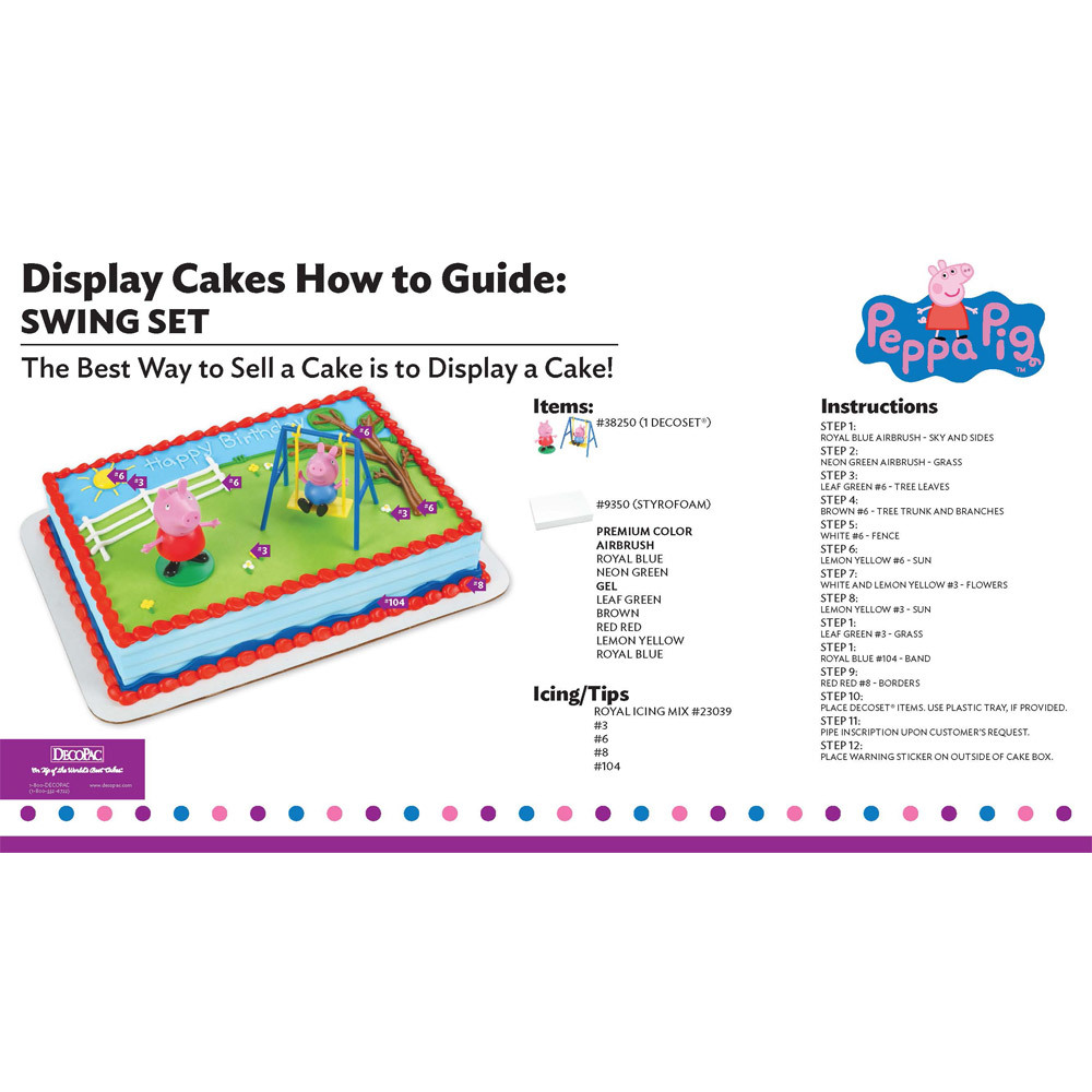 Peppa Pig Swing Set Display Cake Guide