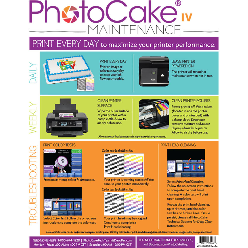 PhotoCake® IV Printer Cleaning Instructions