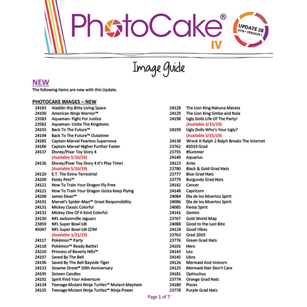 PhotoCake® IV Update 38 Image Guide