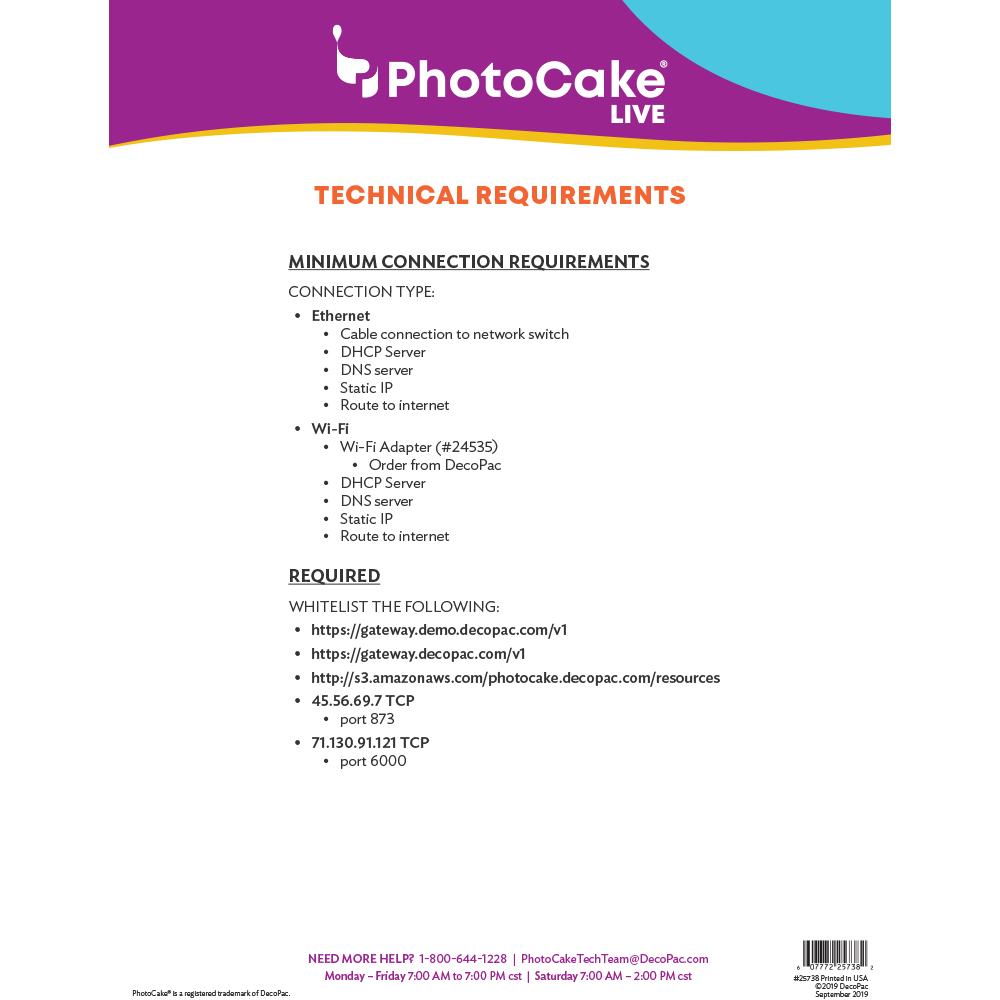 PhotoCake Live Technical Requirements
