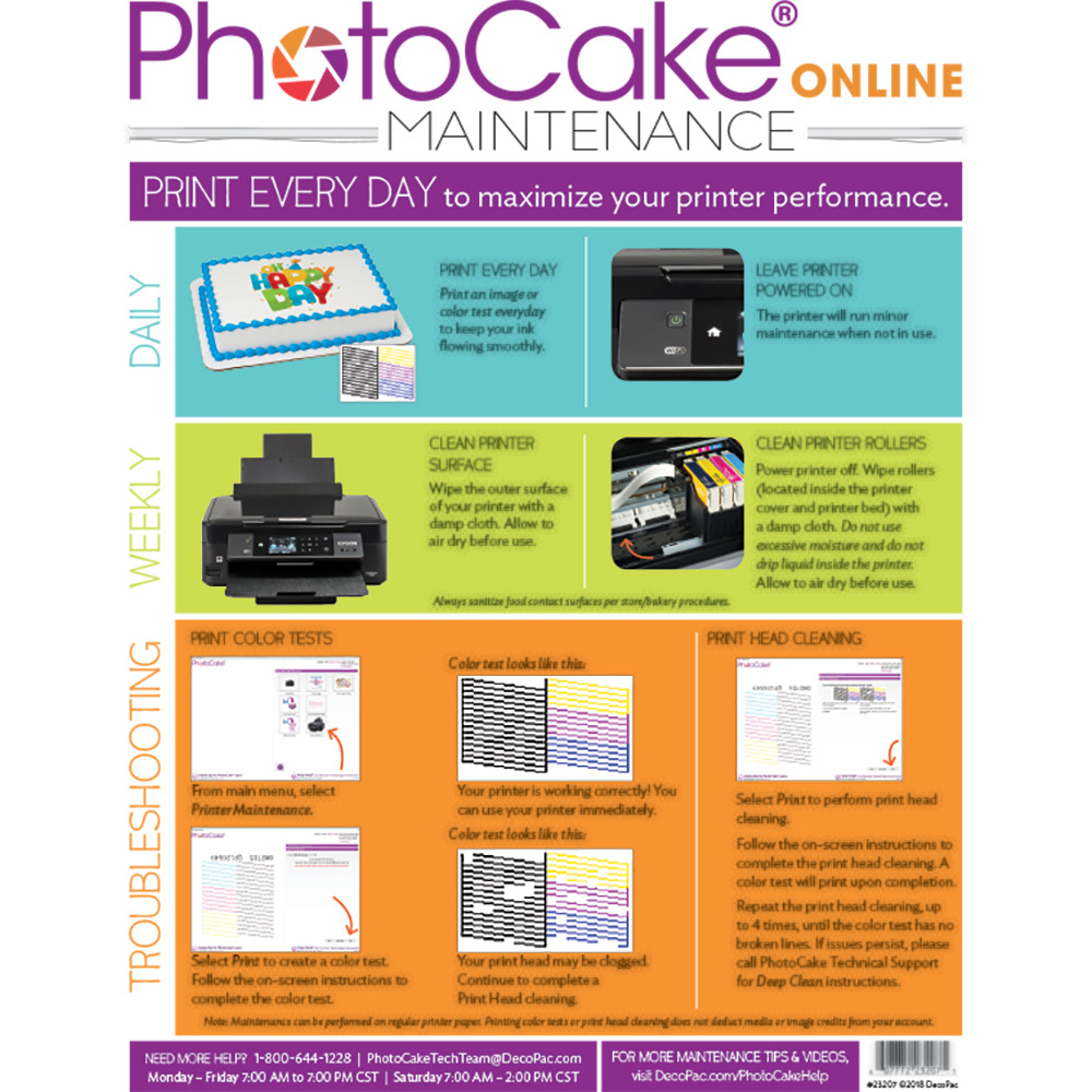 PhotoCake® Online Printer Cleaning Instructions
