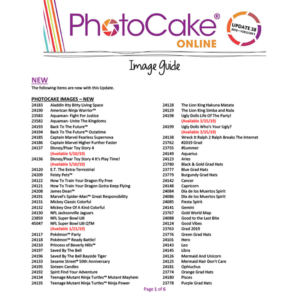 PhotoCake® Online Update 38 Image Guide