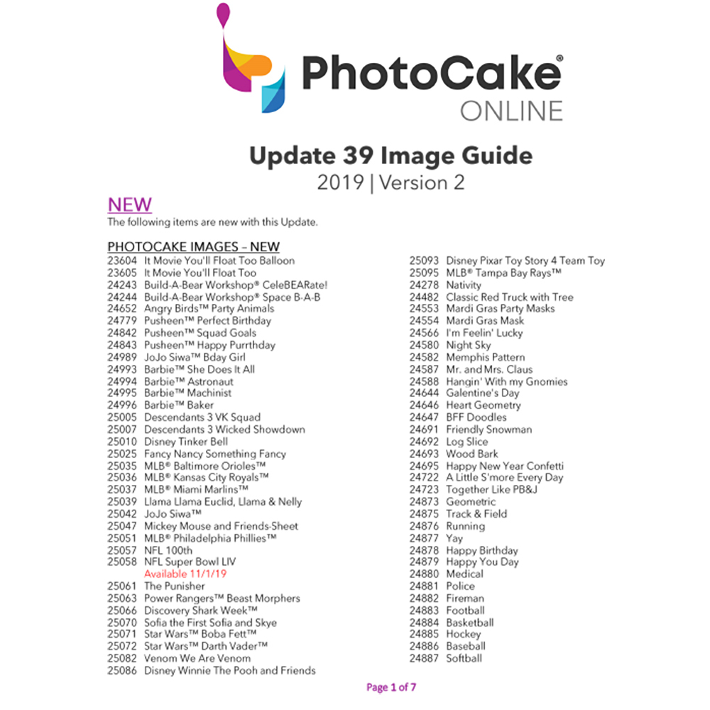 PhotoCake® Online Update 39 Image Guide