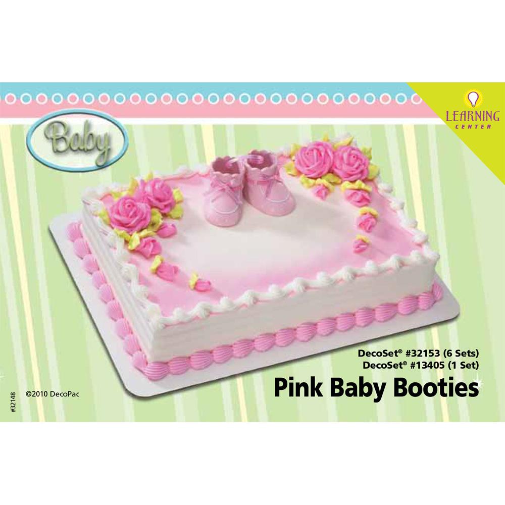 Pink Baby Booties DecoSet® 1/4 Sheet Cake Decorating Instructions ...