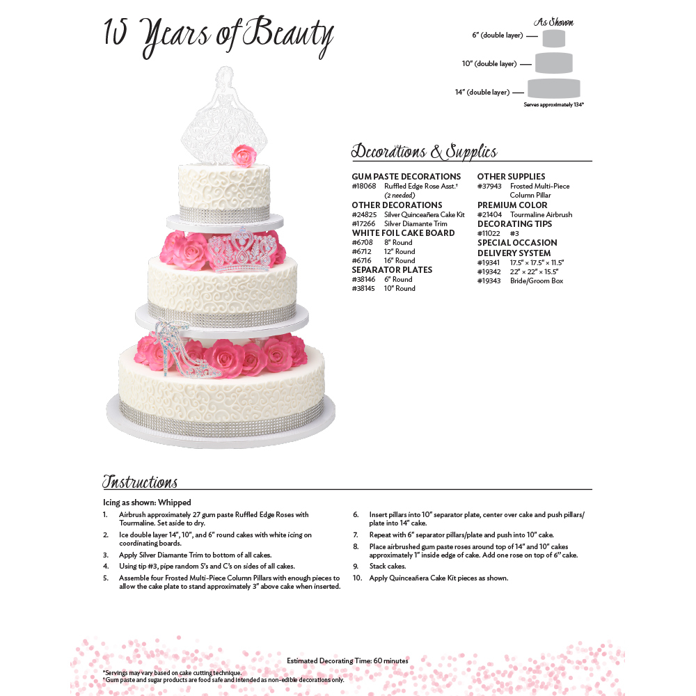 Quinceañera 15 Years of Beauty Cake Decorating Instruction Card