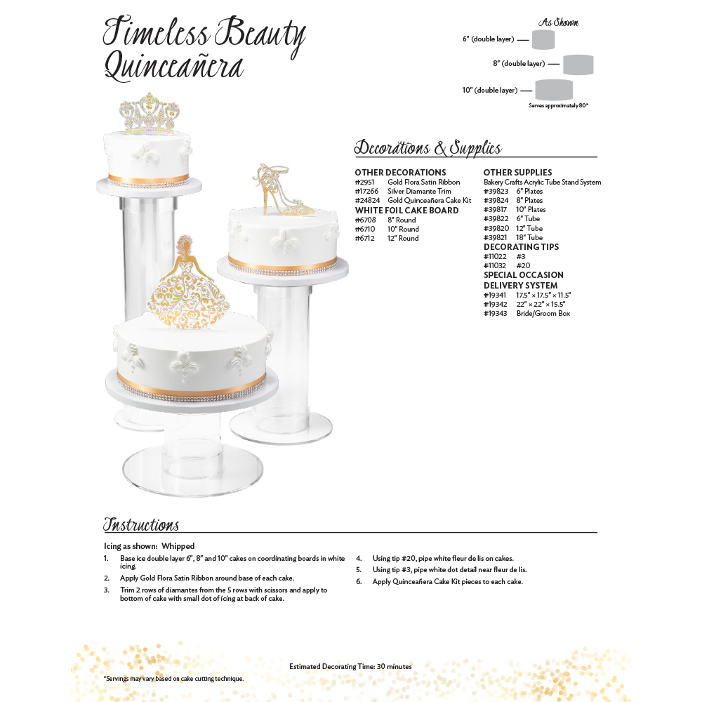 Quinceañera Timeless Beauty Cake Decorating Instruction Card