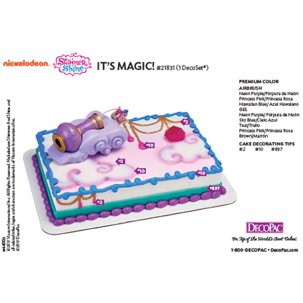 Shimmer and Shine It's Magic! DecoSet® Cake Decorating Instruction Card