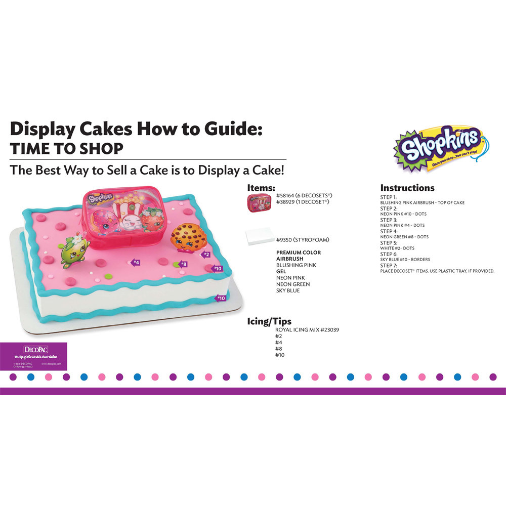 Shopkins Time to Shop Display Cake Guide