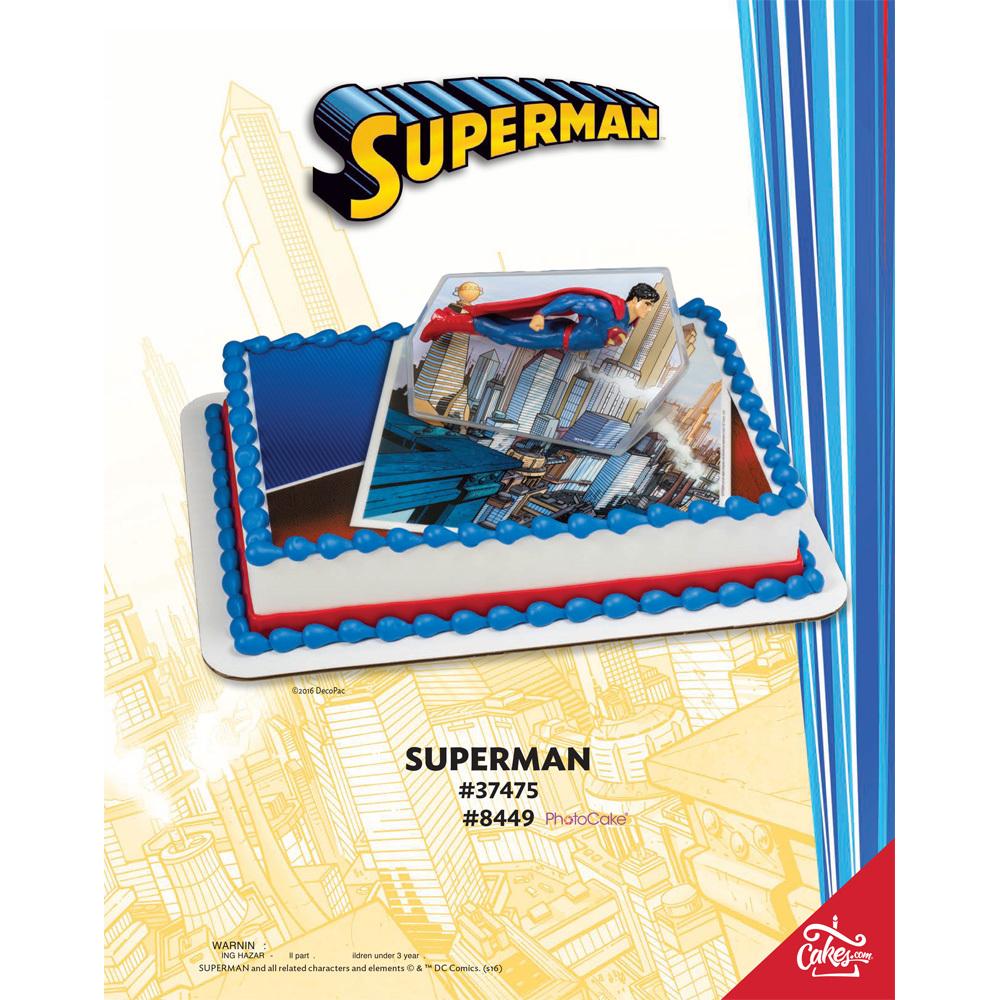 Superman PhotoCake® DecoSet® Background 1/4 Sheet The Magic Of Cakes® Page