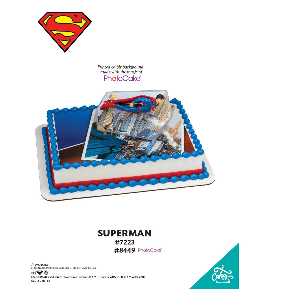 Superman™ Superman PhotoCake® Background The Magic of Cakes® Page