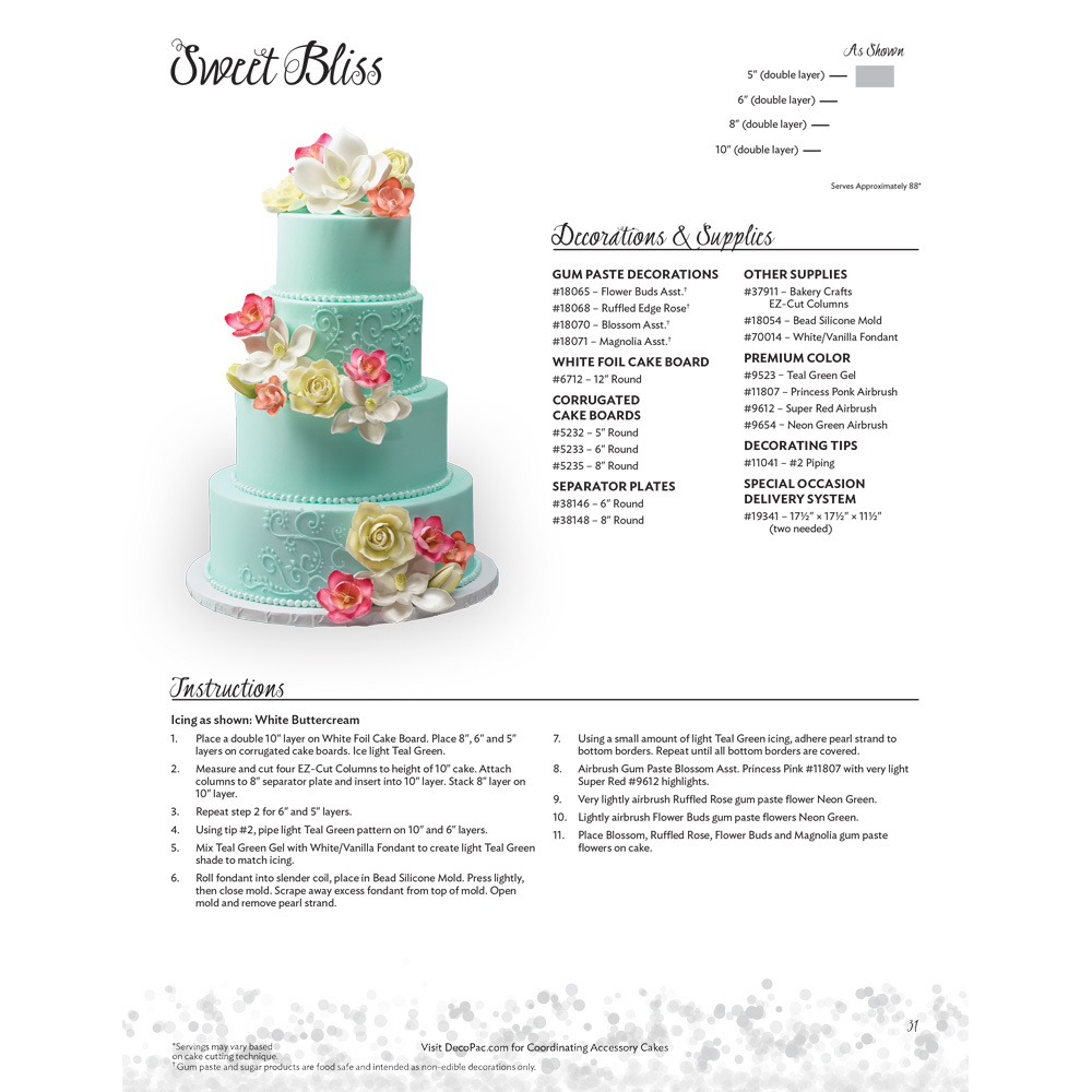 Sweet Bliss Stacked Wedding Cakes Decorating Instructions Decopac