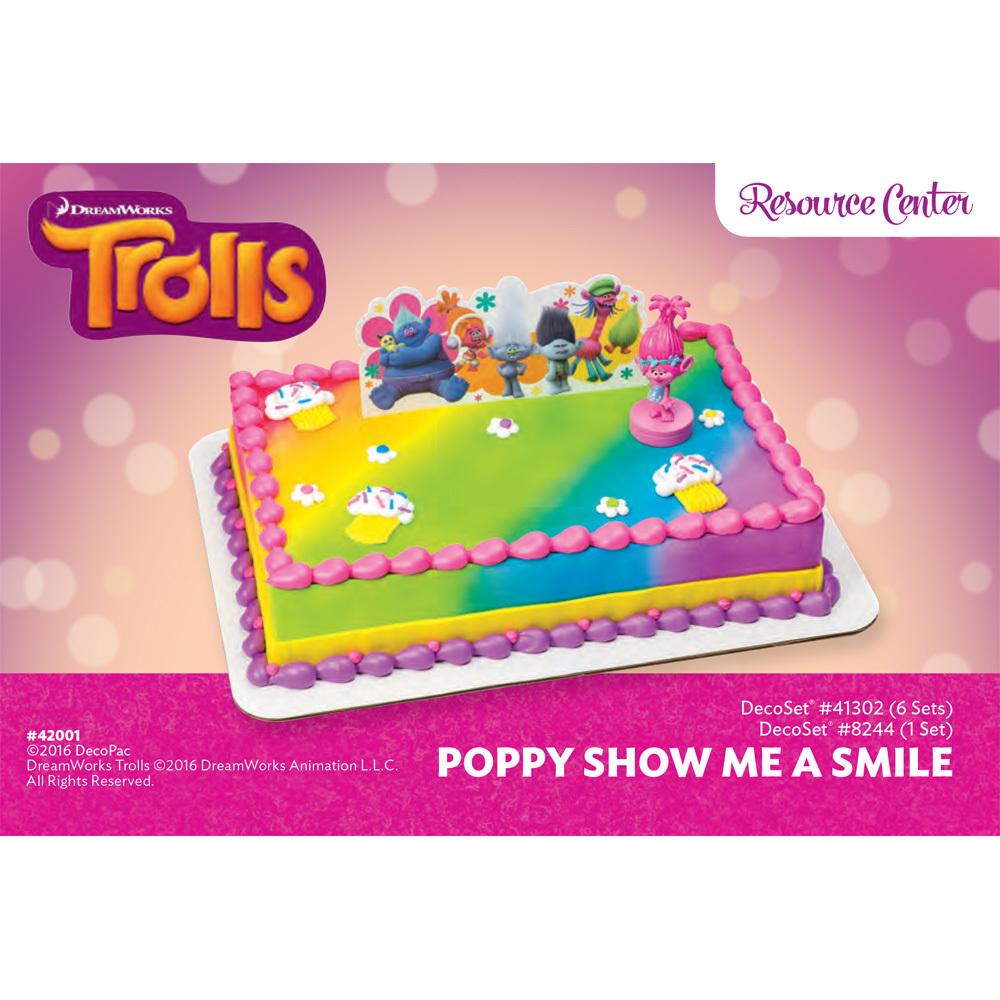Trolls Poppy Show Me A Smile DecoSet® 1/4 Sheet Cake Decorating ...