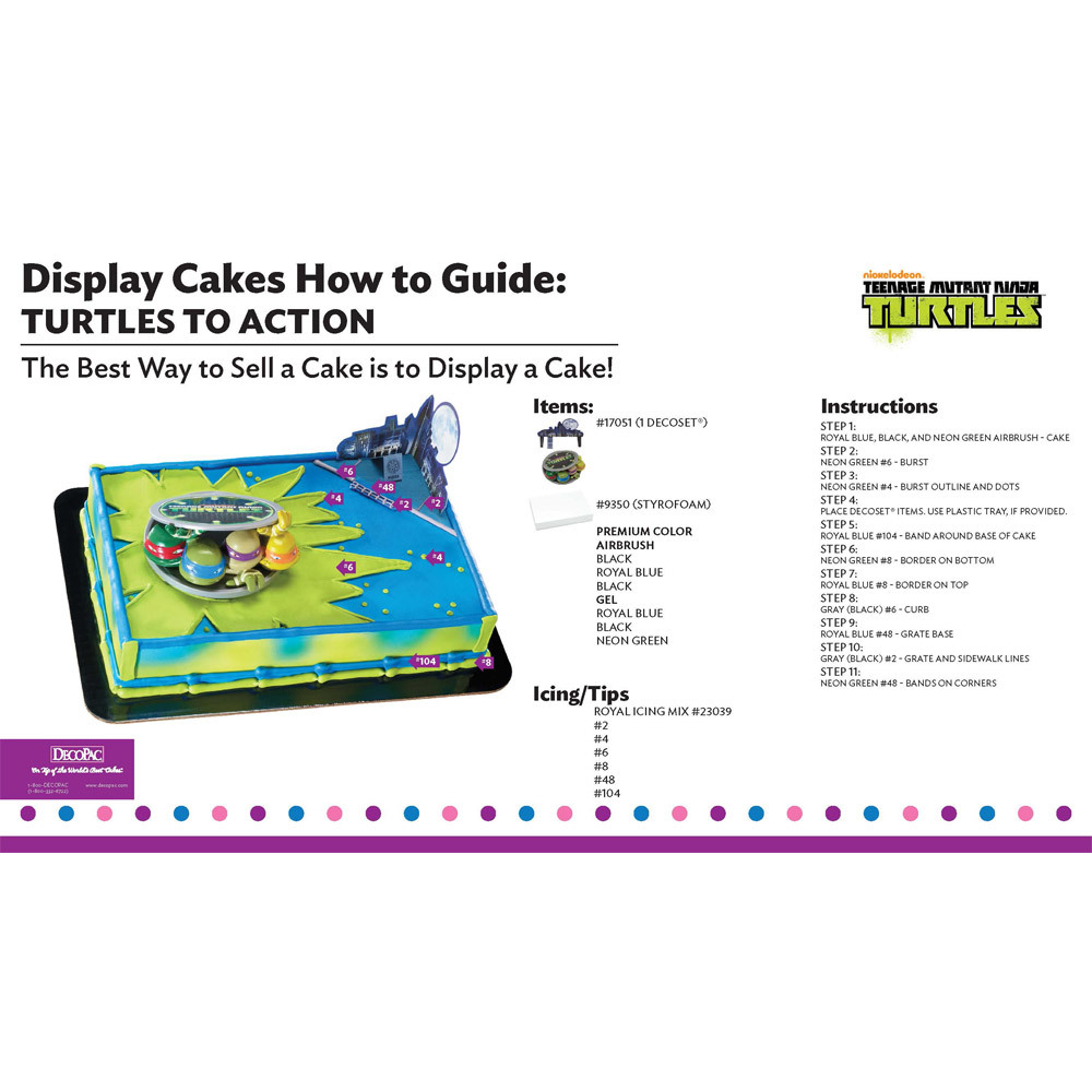 Teenage Mutant Ninja Turtles Turtles to Action Display Cake Guide