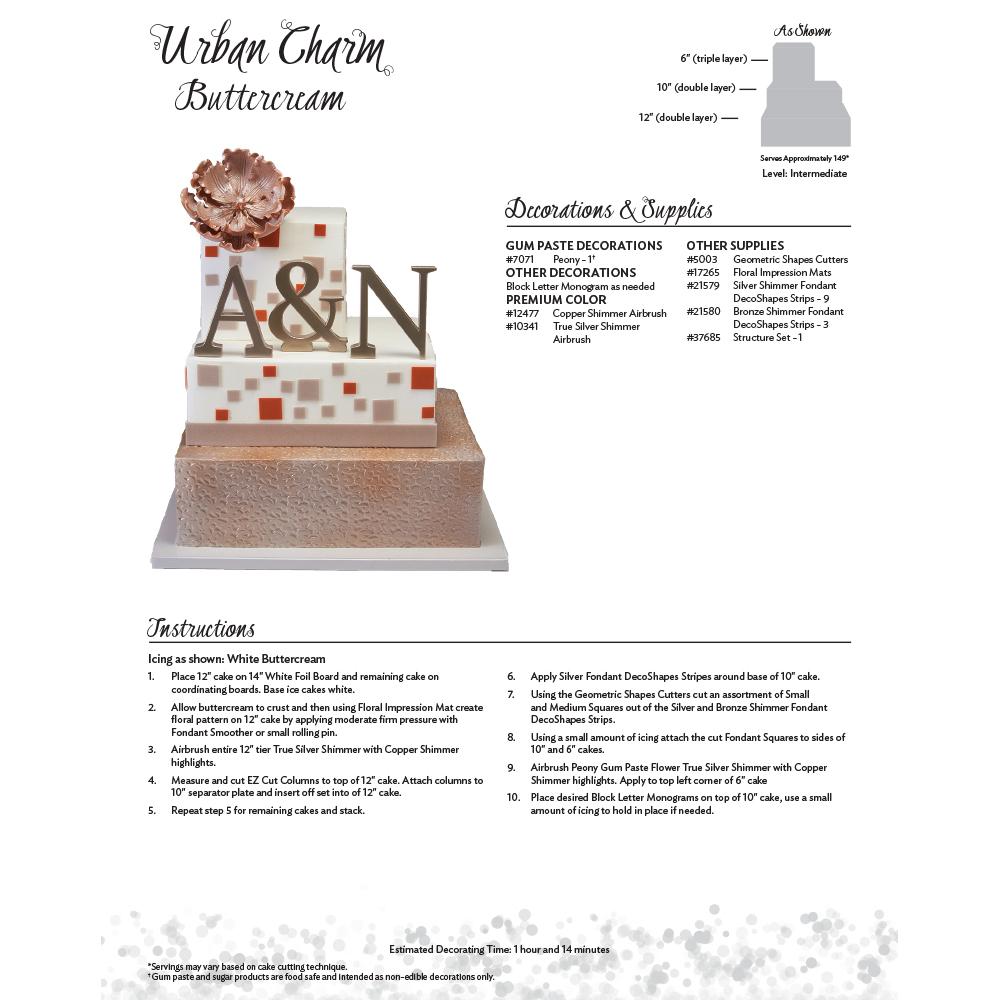 Urban Charm Buttercream Cake Decorating Instruction Card