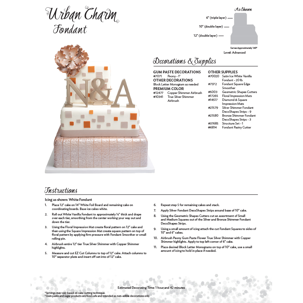 Urban Charm Fondant Cake Decorating Instruction Card