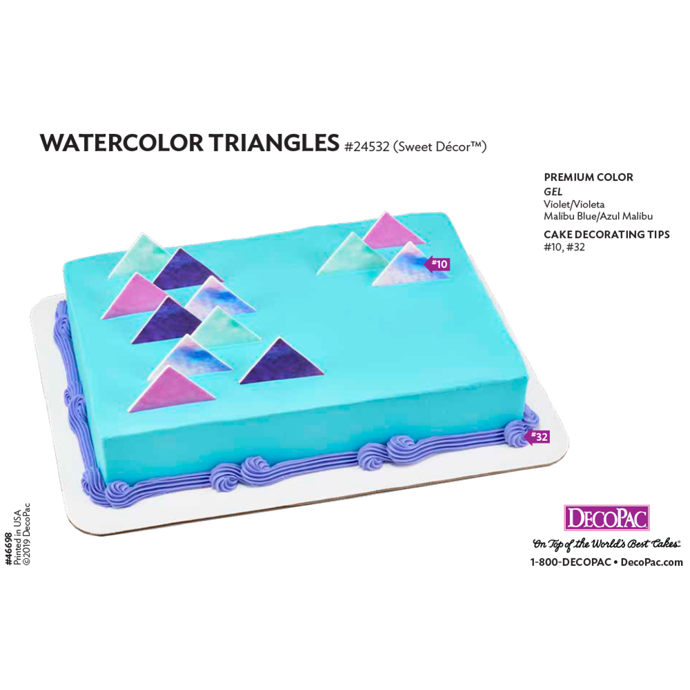 Watercolor Triangles Cake Decorating Instruction Card