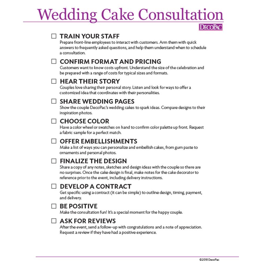 Wedding Cake Consultation Checklist