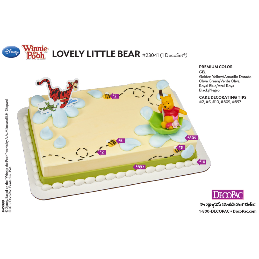 Winnie the Pooh Lovely Little Bear Cake Decorating Instruction Card
