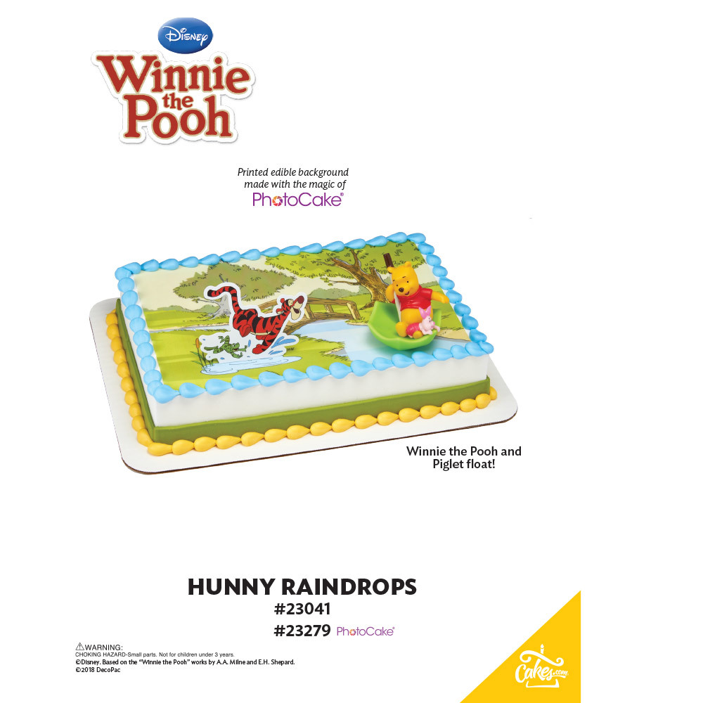 Winnie the Pooh Pooh, Piglet & Tigger Hunny Raindrops PhotoCake® Background The Magic of Cakes® Page