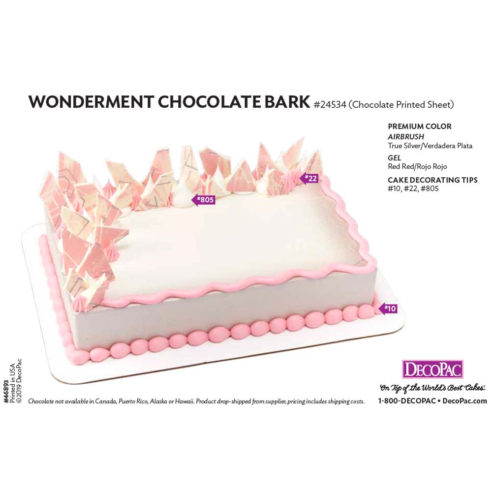 Wonderment Printed Sheet Cake Decorating Instruction Card