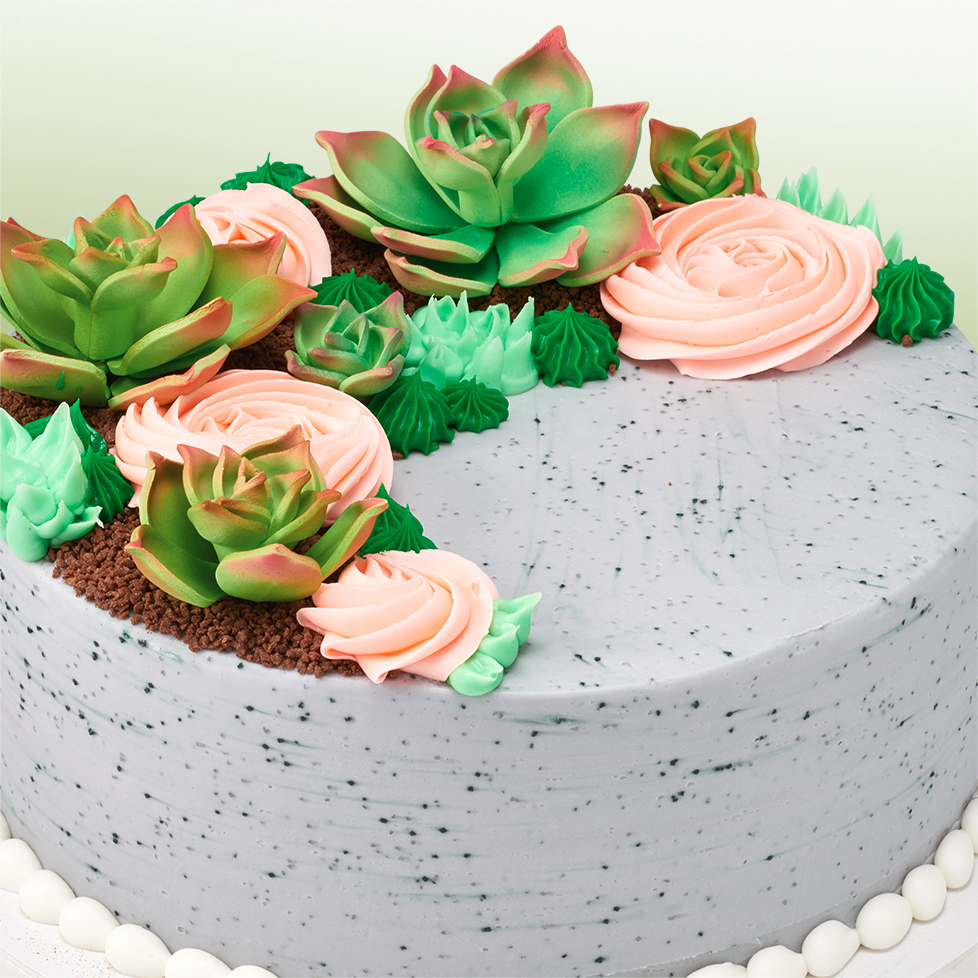 Top pinterest cake trends for the bakery decopac the corresponding cupcakes feature gum paste mini succulents in green and blue with piped cacti and a piped cactus flower izmirmasajfo
