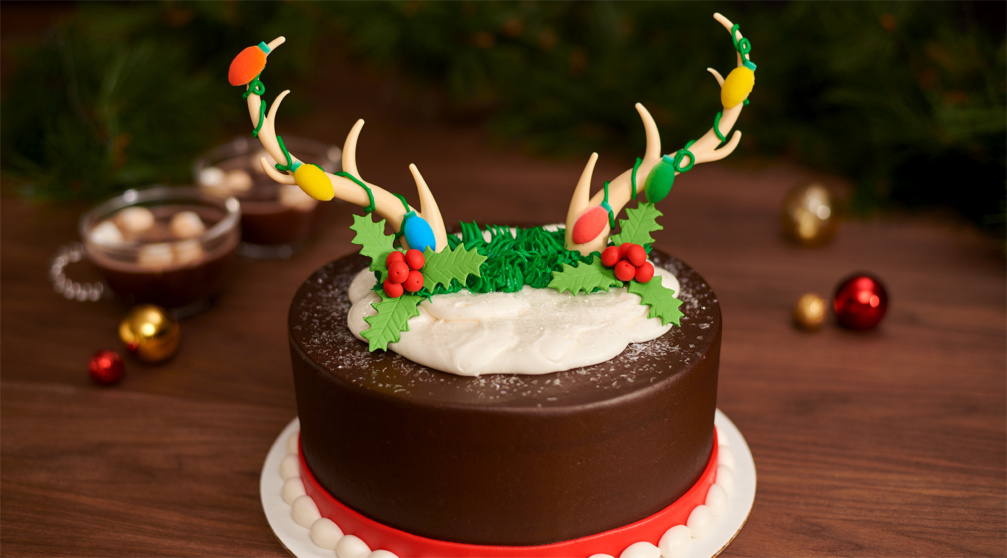 Antler Creations with Christmas Lights Cake