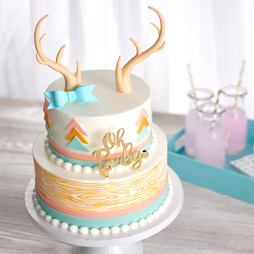 Antler, Oh Baby, Wood-Grain, Blue Bow, Layered Cake