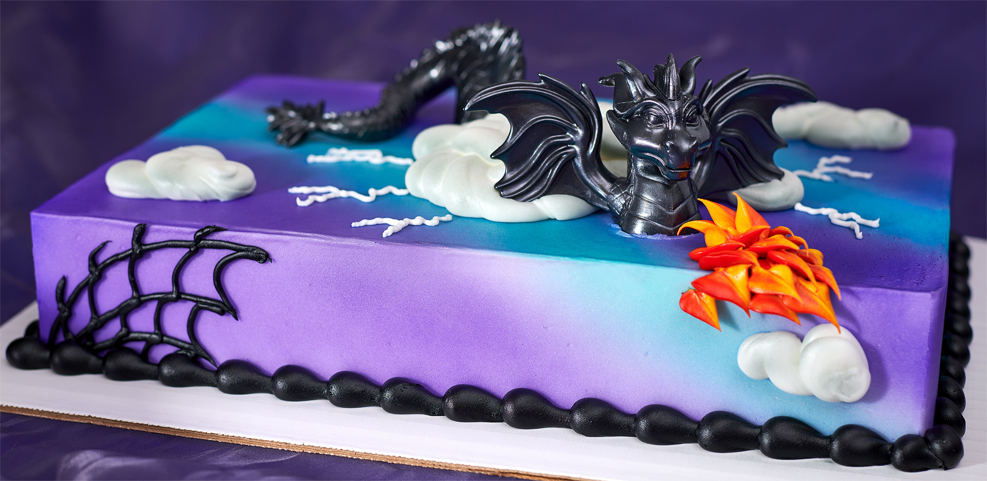 Blue, Purple, Fire-Breathing Dragon Cake