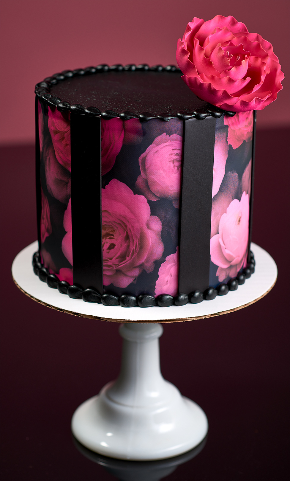 Pink Flower Pedestal Cake Stand