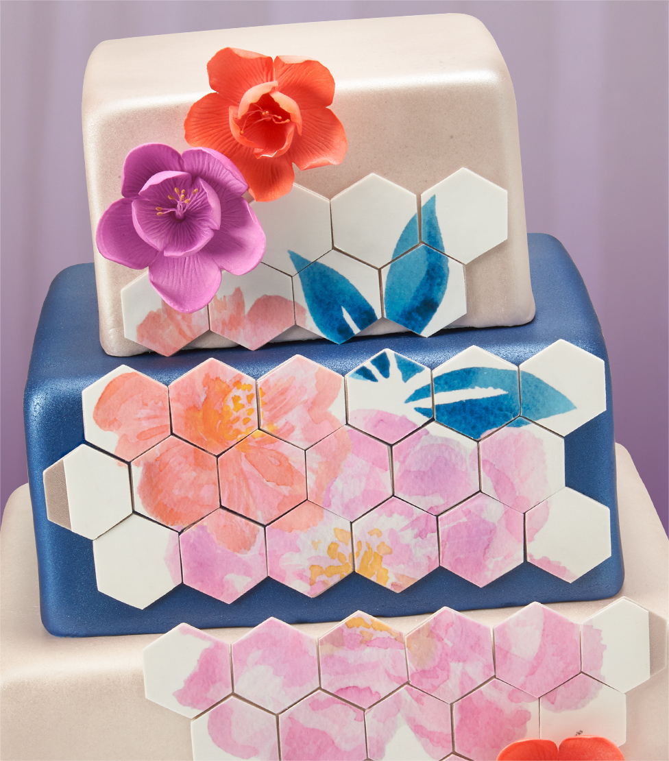 White Blue Layer Cake Flowers