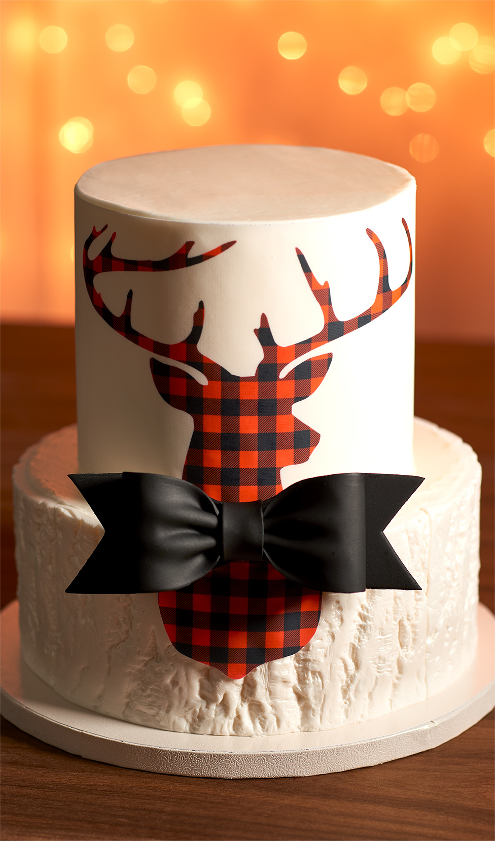 White Layered Cake Plaid Deer Bow