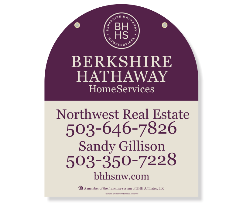 BHHS Northwest Real Estate Oregon-Washington Agent Listing Signs MDO-30X24_AGT_130