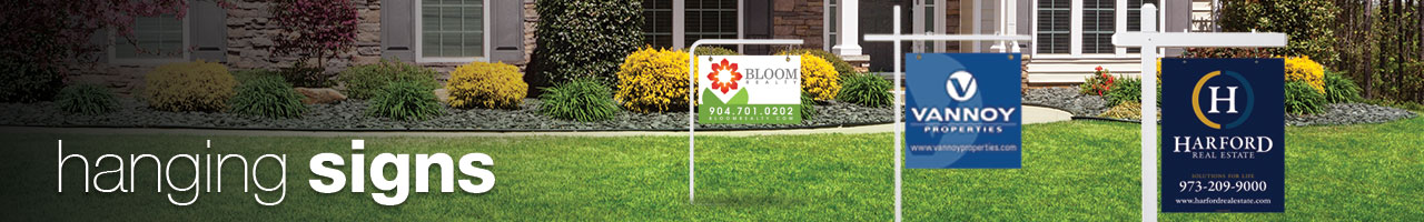 hanging signs / hanging real estate signs